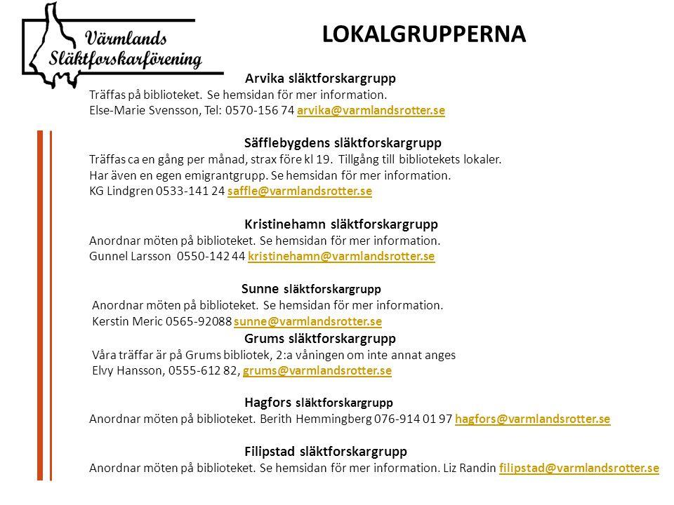 Arvika släktforskargrupp Träffas på biblioteket.Se hemsidan för mer information.