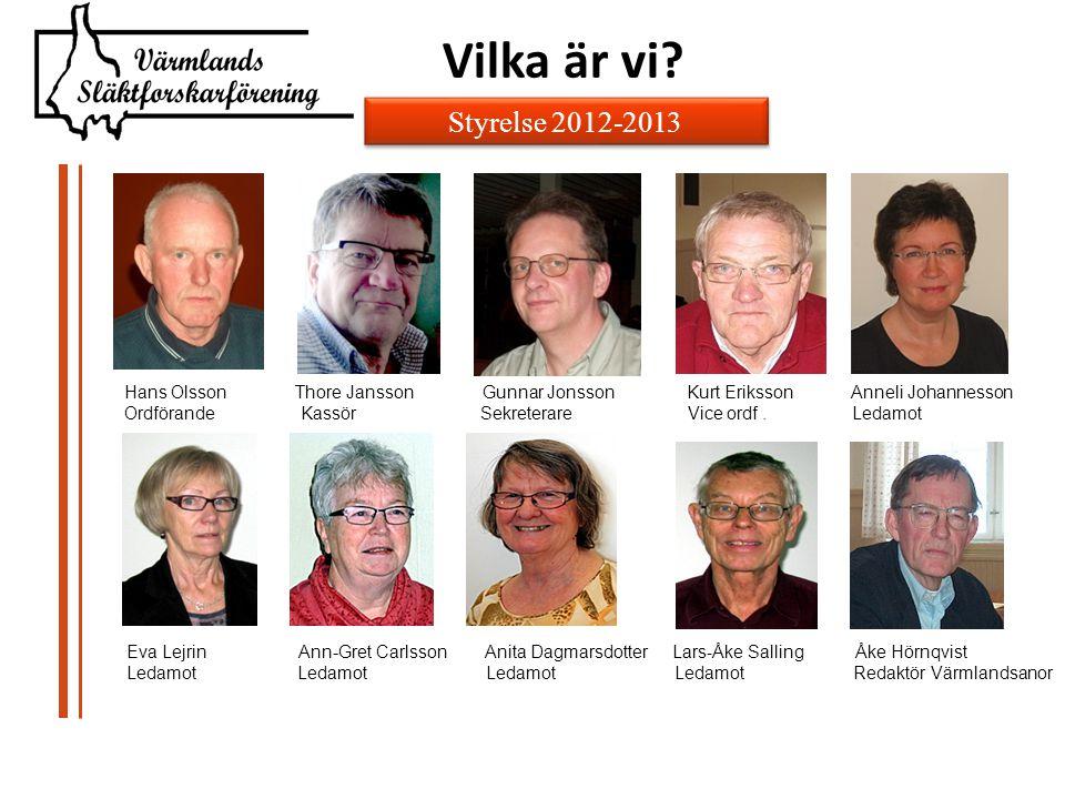 Hans Olsson Thore Jansson Gunnar Jonsson Kurt Eriksson Anneli Johannesson Ordförande Kassör Sekreterare Vice ordf.