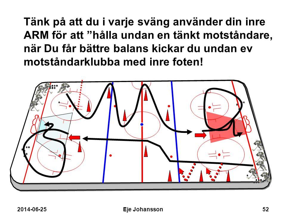 """2014-06-25Eje Johansson52 Tänk på att du i varje sväng använder din inre ARM för att """"hålla undan en tänkt motståndare, när Du får bättre balans kicka"""