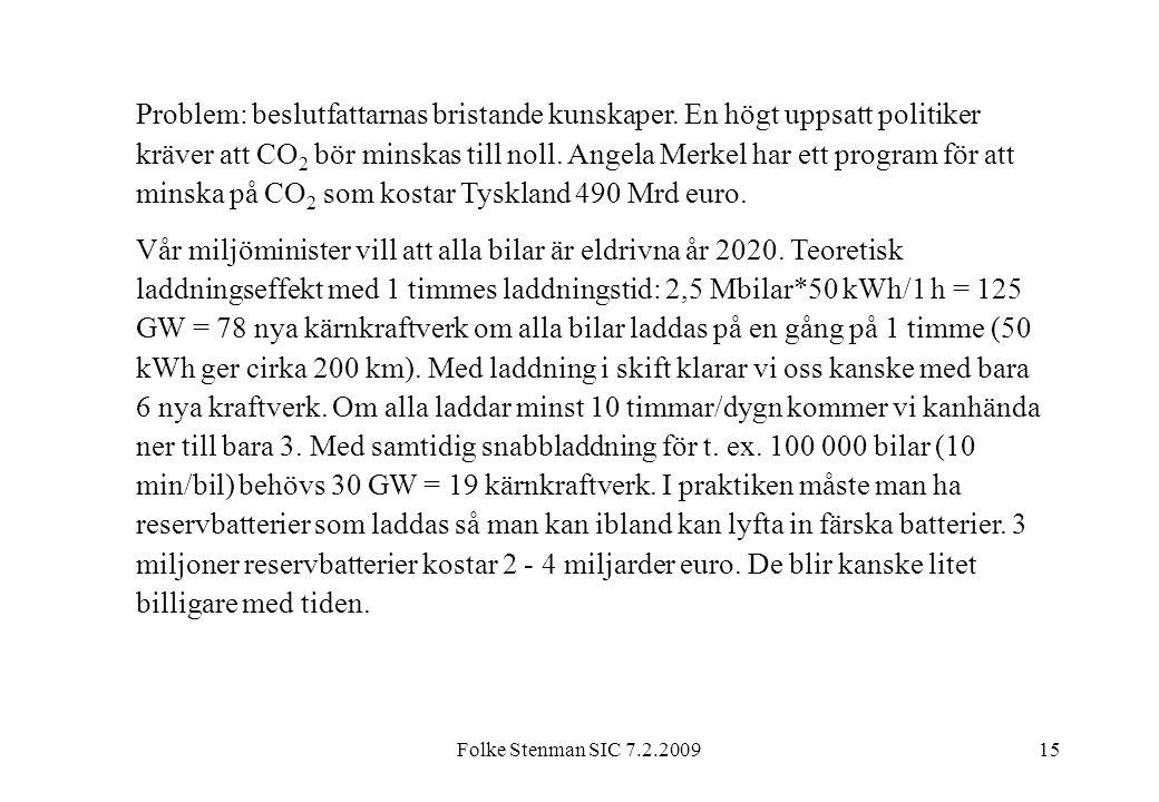 Folke Stenman SIC 7.2.200915 Problem: beslutfattarnas bristande kunskaper. En högt uppsatt politiker kräver att CO 2 bör minskas till noll. Angela Mer