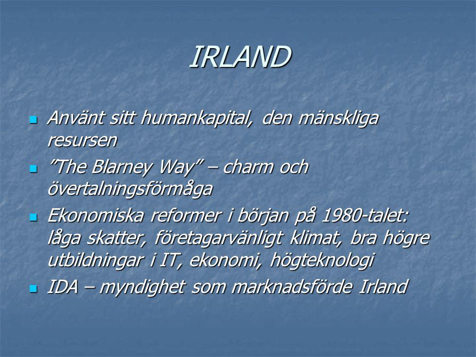 """IRLAND  Använt sitt humankapital, den mänskliga resursen  """"The Blarney Way"""" – charm och övertalningsförmåga  Ekonomiska reformer i början på 1980-t"""