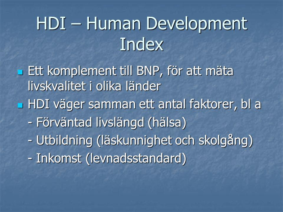 HDI – Human Development Index  Ett komplement till BNP, för att mäta livskvalitet i olika länder  HDI väger samman ett antal faktorer, bl a - Förvän