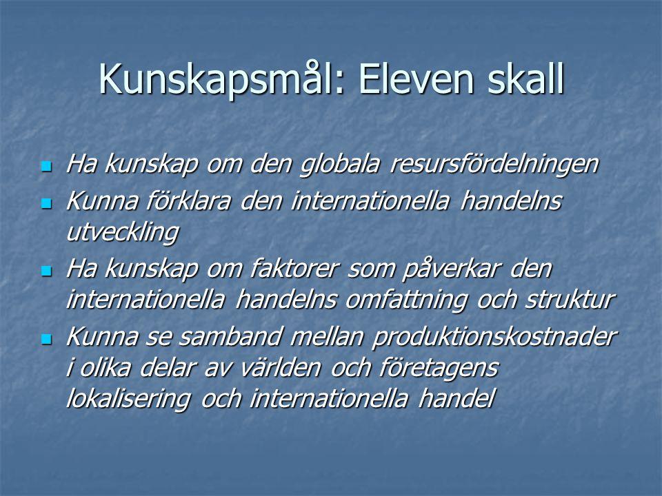 Kunskapsmål: Eleven skall  Ha kunskap om den globala resursfördelningen  Kunna förklara den internationella handelns utveckling  Ha kunskap om fakt