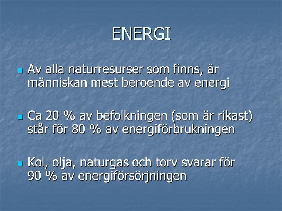 ENERGI  Av alla naturresurser som finns, är människan mest beroende av energi  Ca 20 % av befolkningen (som är rikast) står för 80 % av energiförbru