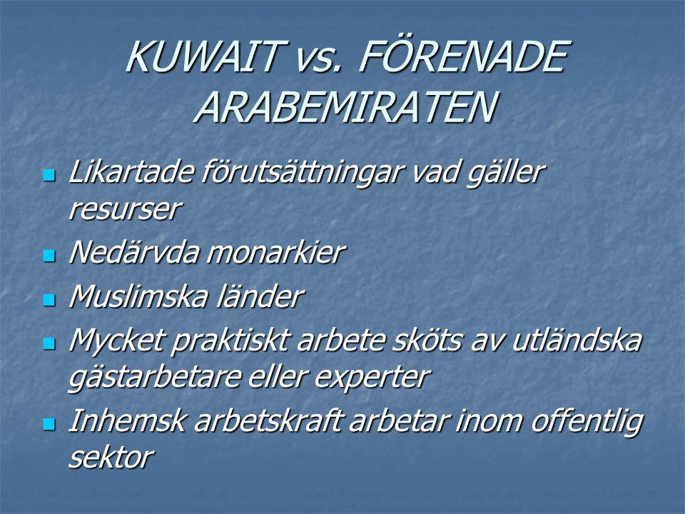 KUWAIT vs. FÖRENADE ARABEMIRATEN  Likartade förutsättningar vad gäller resurser  Nedärvda monarkier  Muslimska länder  Mycket praktiskt arbete skö