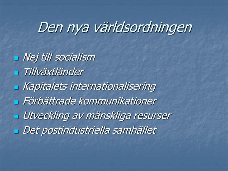 Den nya världsordningen  Nej till socialism  Tillväxtländer  Kapitalets internationalisering  Förbättrade kommunikationer  Utveckling av mänsklig
