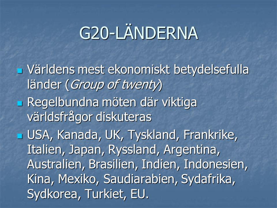 G20-LÄNDERNA  Världens mest ekonomiskt betydelsefulla länder (Group of twenty)  Regelbundna möten där viktiga världsfrågor diskuteras  USA, Kanada,