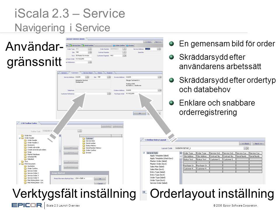 iScala 2.3 Launch Overview © 2006 Epicor Software Corporation. Användar- gränssnitt iScala 2.3 – Service Navigering i Service En gemensam bild för ord