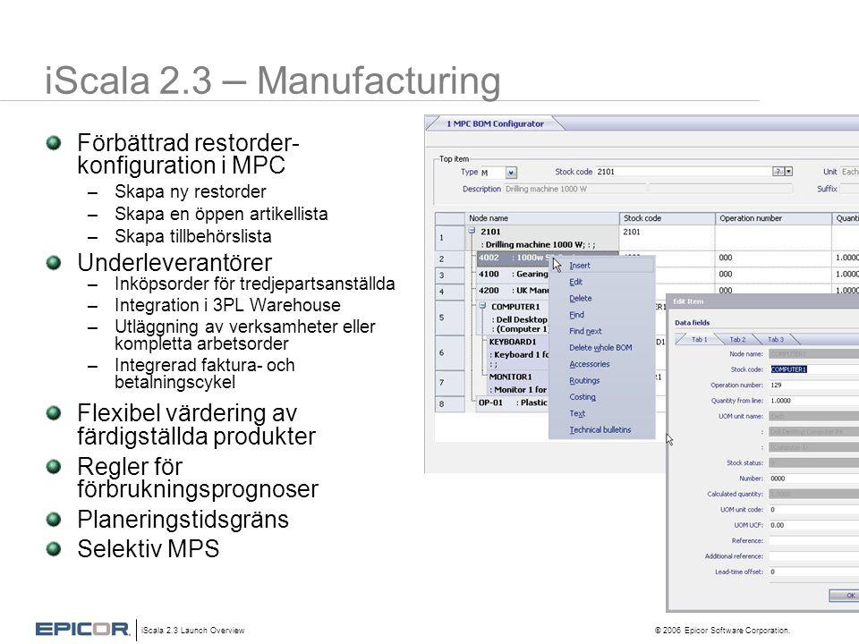 iScala 2.3 Launch Overview © 2006 Epicor Software Corporation. iScala 2.3 – Manufacturing Förbättrad restorder- konfiguration i MPC –Skapa ny restorde