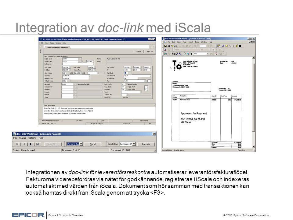 iScala 2.3 Launch Overview © 2006 Epicor Software Corporation. Integration av doc-link med iScala Integrationen av doc-link för leverantörsreskontra a