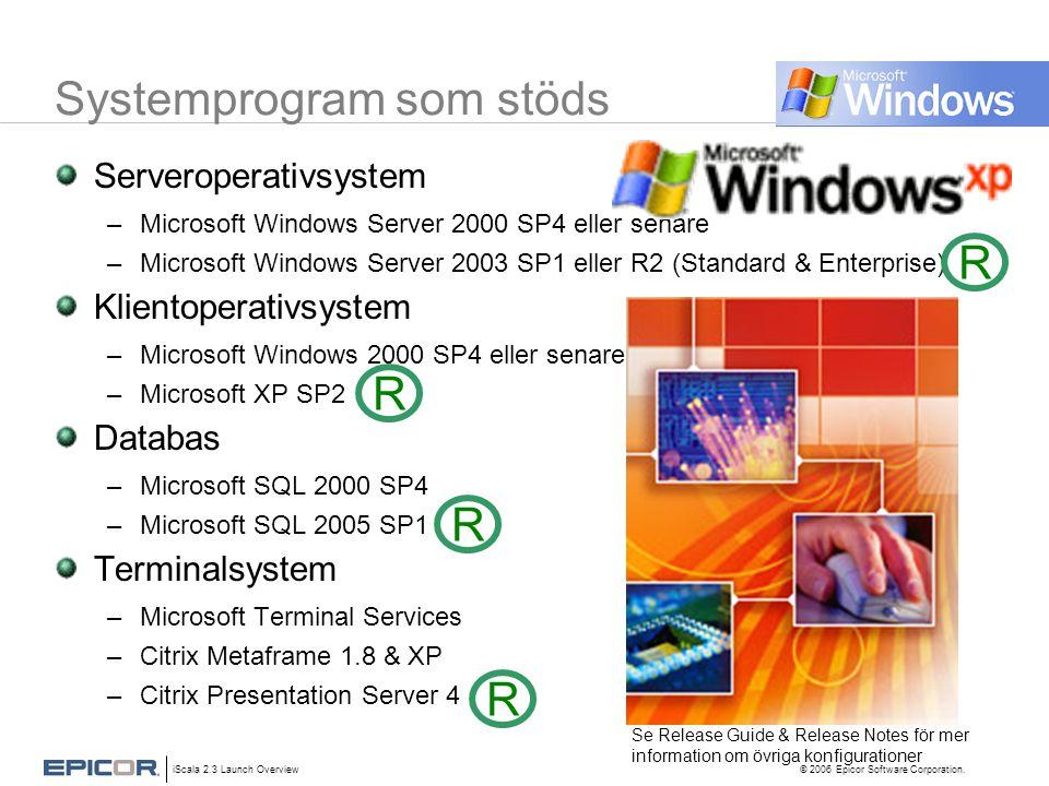 iScala 2.3 Launch Overview © 2006 Epicor Software Corporation. Systemprogram som stöds Serveroperativsystem –Microsoft Windows Server 2000 SP4 eller s