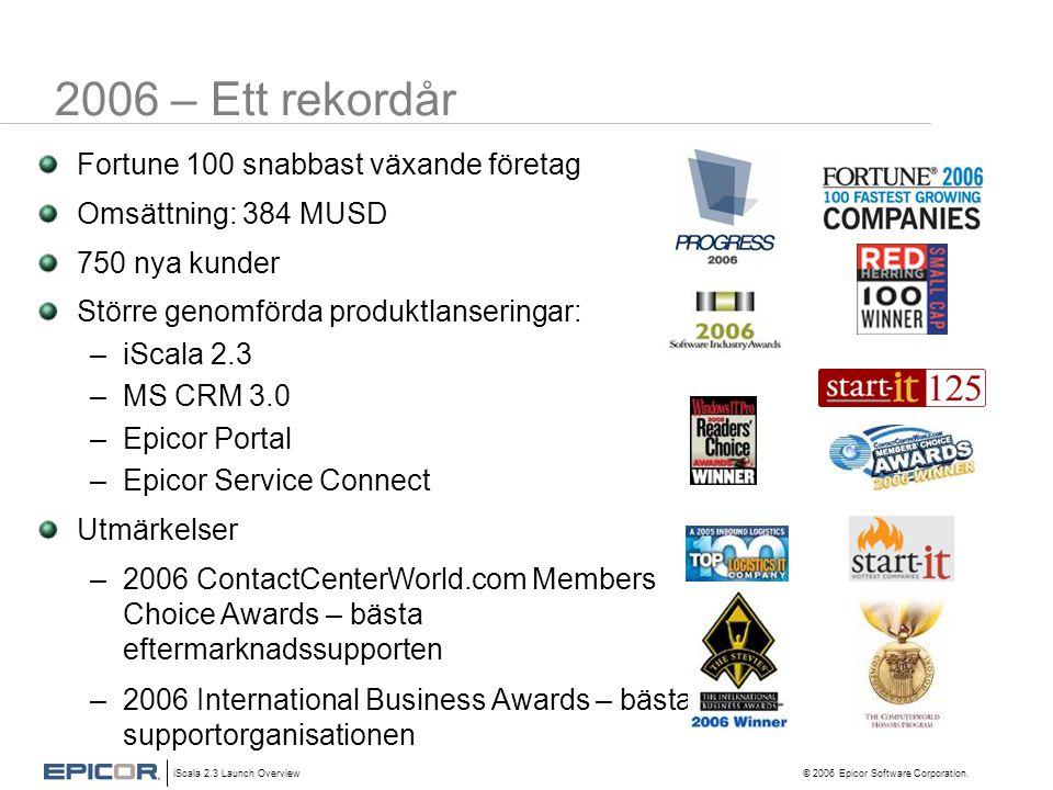 iScala 2.3 Launch Overview © 2006 Epicor Software Corporation. 2006 – Ett rekordår Fortune 100 snabbast växande företag Omsättning: 384 MUSD 750 nya k