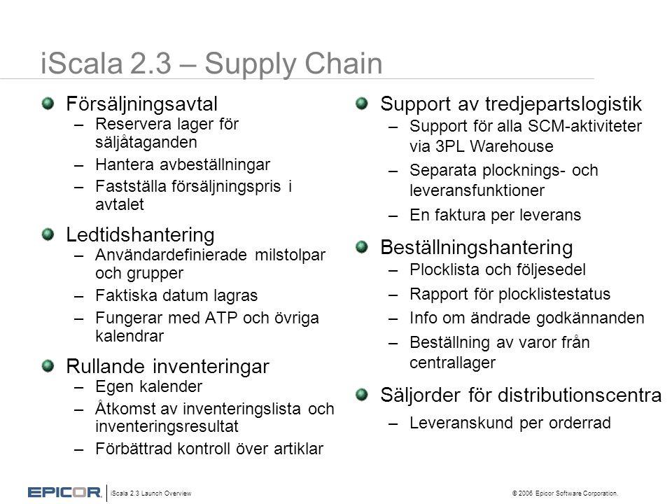 iScala 2.3 Launch Overview © 2006 Epicor Software Corporation. iScala 2.3 – Supply Chain Försäljningsavtal –Reservera lager för säljåtaganden –Hantera