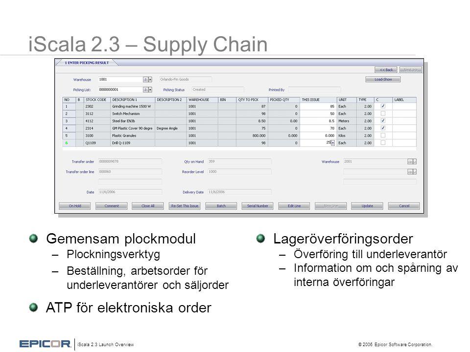 iScala 2.3 Launch Overview © 2006 Epicor Software Corporation. iScala 2.3 – Supply Chain Gemensam plockmodul –Plockningsverktyg –Beställning, arbetsor
