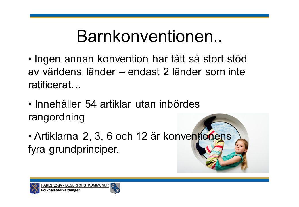 Barnkonventionen.. • Ingen annan konvention har fått så stort stöd av världens länder – endast 2 länder som inte ratificerat… • Innehåller 54 artiklar