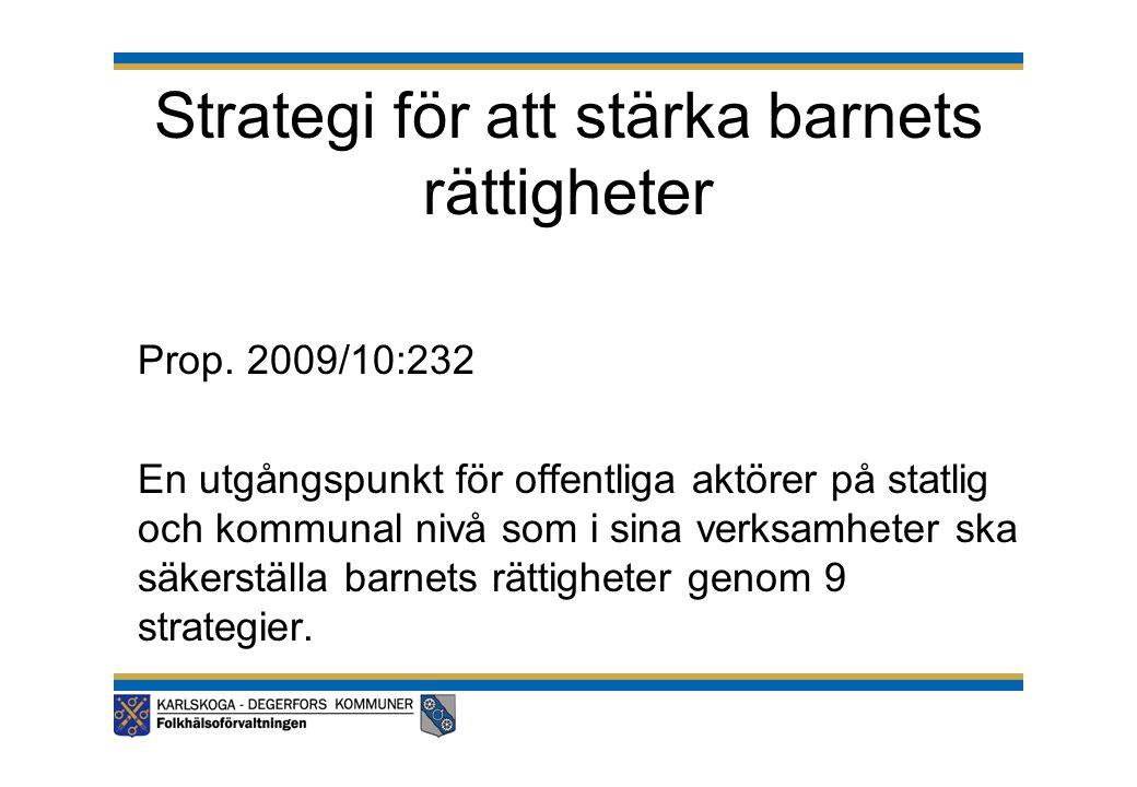 Strategi för att stärka barnets rättigheter Prop. 2009/10:232 En utgångspunkt för offentliga aktörer på statlig och kommunal nivå som i sina verksamhe