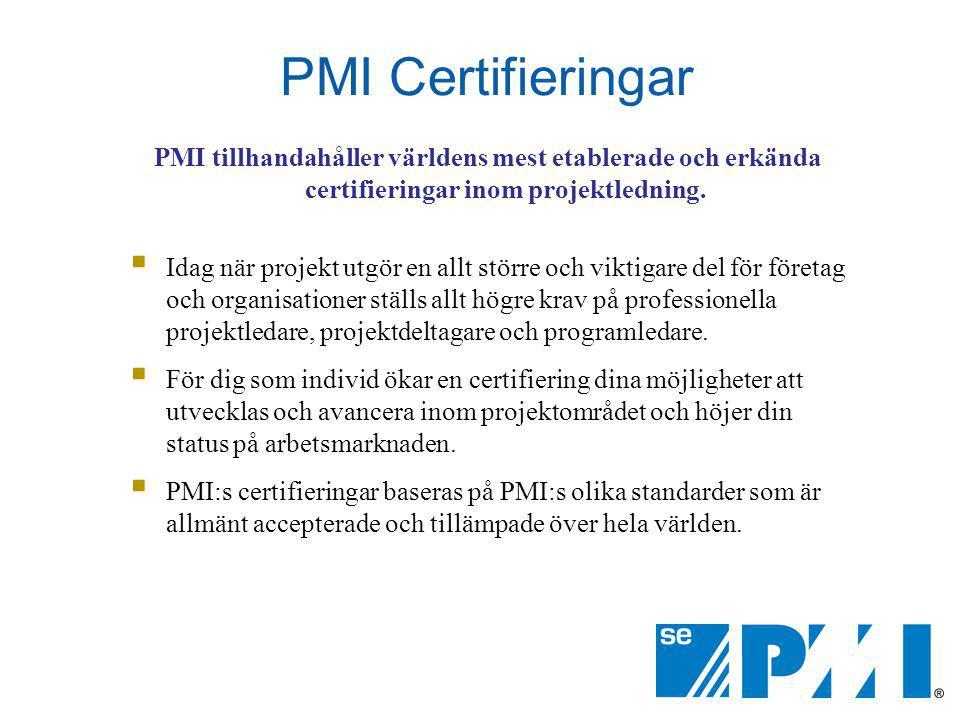 PMI Certifieringar PMI tillhandahåller världens mest etablerade och erkända certifieringar inom projektledning.  Idag när projekt utgör en allt störr