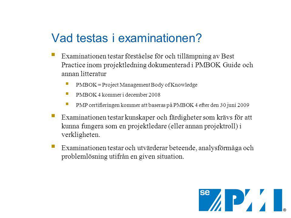 Vad testas i examinationen?  Examinationen testar förståelse för och tillämpning av Best Practice inom projektledning dokumenterad i PMBOK Guide och