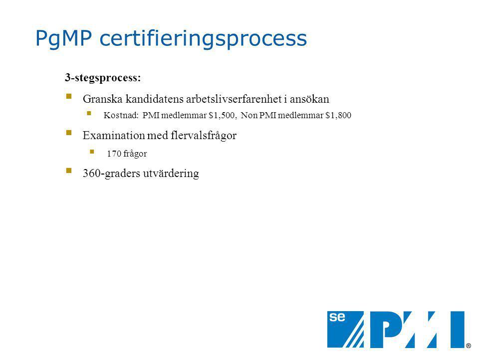 PgMP certifieringsprocess 3-stegsprocess:  Granska kandidatens arbetslivserfarenhet i ansökan  Kostnad: PMI medlemmar $1,500, Non PMI medlemmar $1,800  Examination med flervalsfrågor  170 frågor  360-graders utvärdering