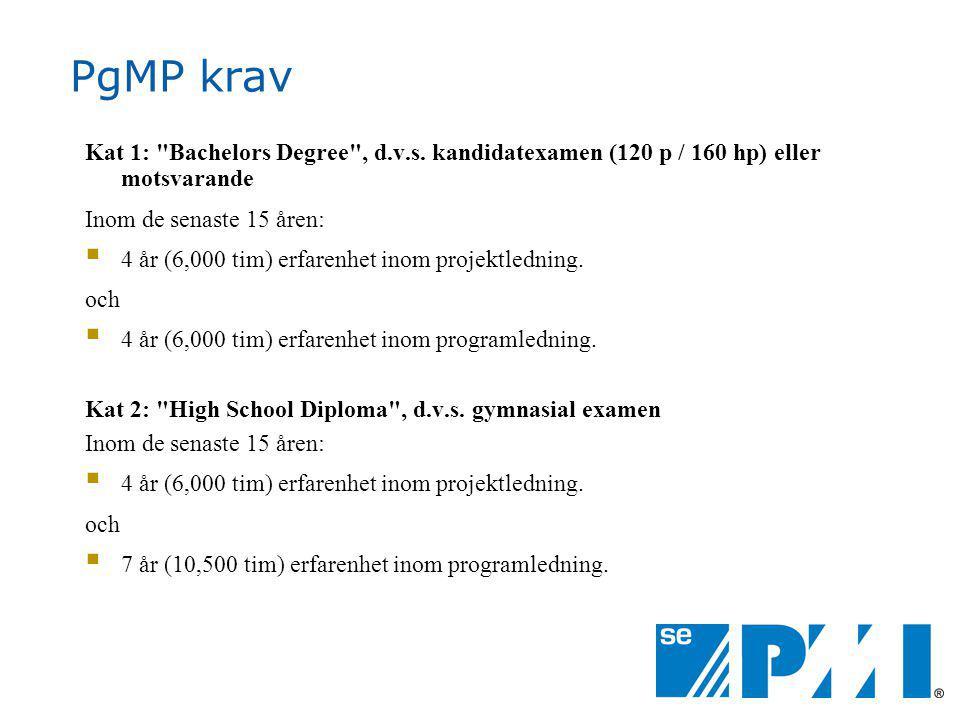 PgMP krav Kat 1: Bachelors Degree , d.v.s.