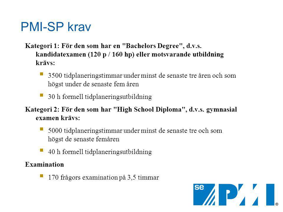 PMI-SP krav Kategori 1: För den som har en Bachelors Degree , d.v.s.