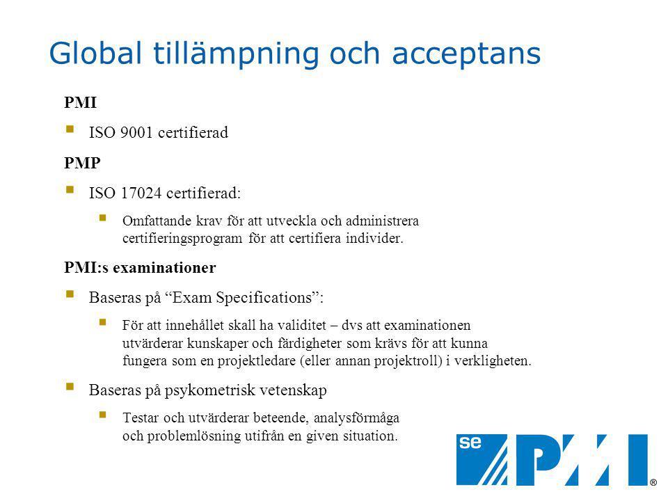 Global tillämpning och acceptans PMI  ISO 9001 certifierad PMP  ISO 17024 certifierad:  Omfattande krav för att utveckla och administrera certifieringsprogram för att certifiera individer.