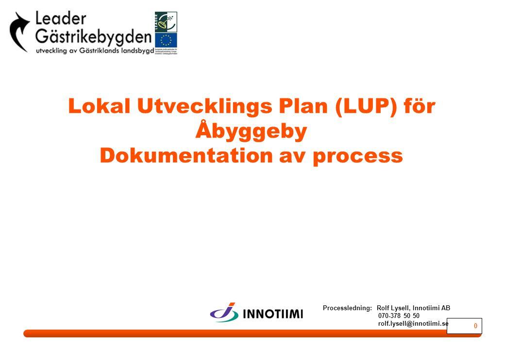 0 Lokal Utvecklings Plan (LUP) för Åbyggeby Dokumentation av process Processledning: Rolf Lysell, Innotiimi AB 070-378 50 50 rolf.lysell@innotiimi.se