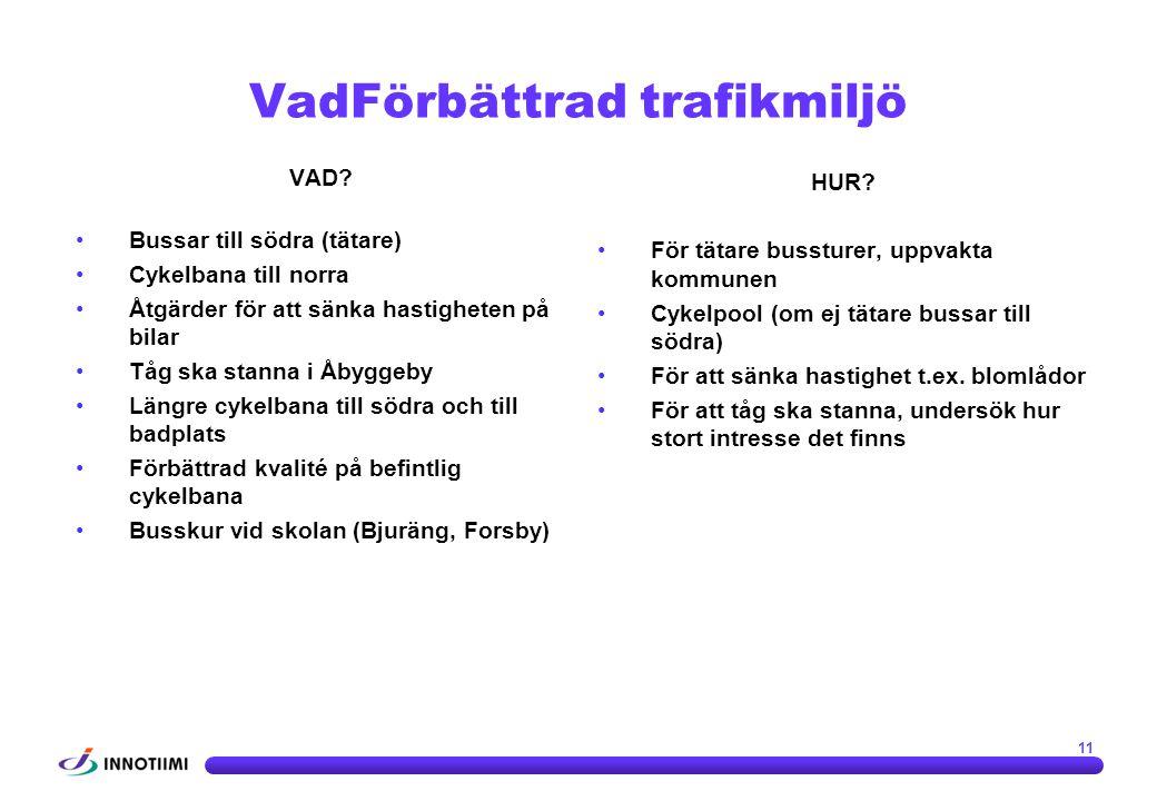 VAD? •Bussar till södra (tätare) •Cykelbana till norra •Åtgärder för att sänka hastigheten på bilar •Tåg ska stanna i Åbyggeby •Längre cykelbana till