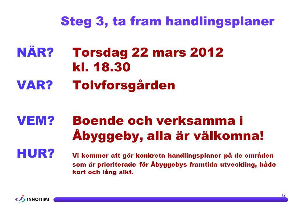 NÄR?Torsdag 22 mars 2012 kl. 18.30 VAR?Tolvforsgården VEM?Boende och verksamma i Åbyggeby, alla är välkomna! HUR? Vi kommer att gör konkreta handlings