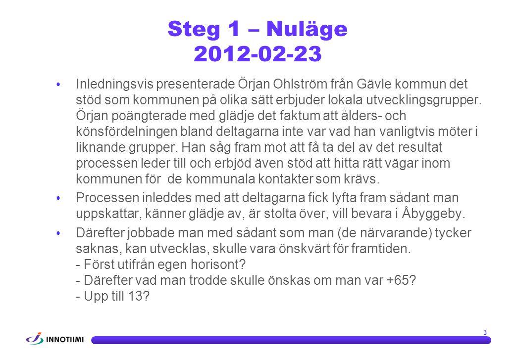 3 Steg 1 – Nuläge 2012-02-23 • Inledningsvis presenterade Örjan Ohlström från Gävle kommun det stöd som kommunen på olika sätt erbjuder lokala utveckl