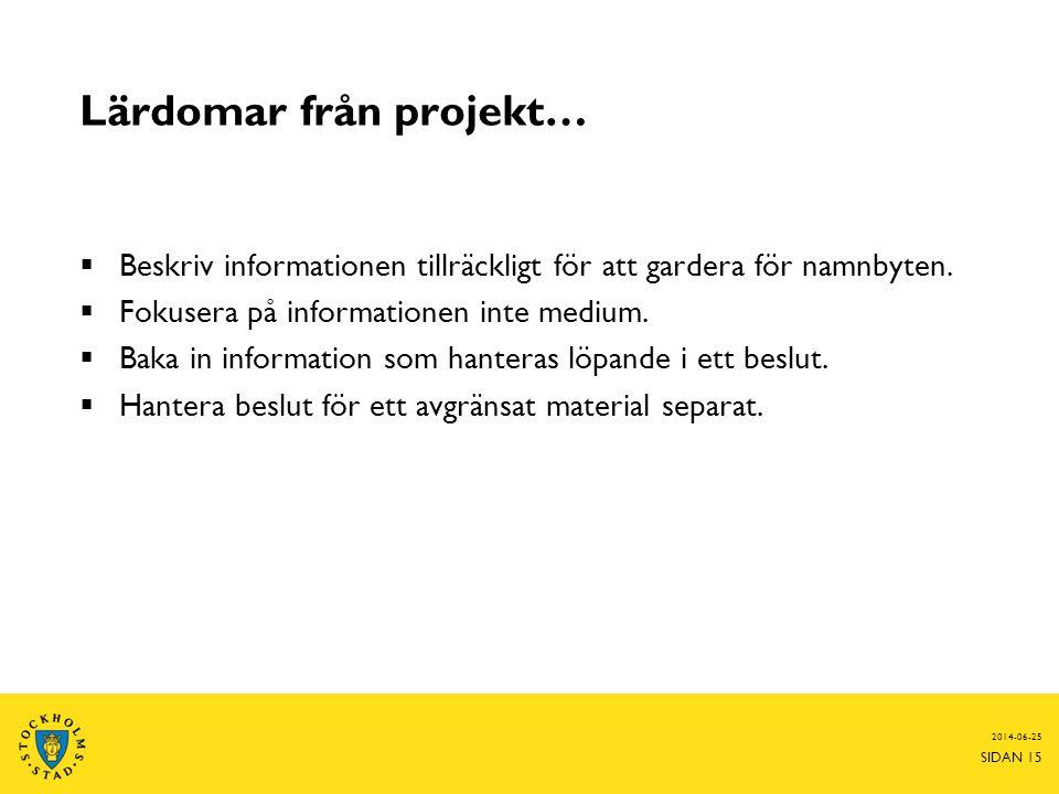 Lärdomar från projekt…  Beskriv informationen tillräckligt för att gardera för namnbyten.  Fokusera på informationen inte medium.  Baka in informat