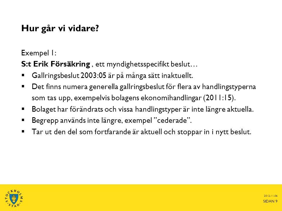 2014-06-25 SIDAN 10 Tas med i nytt beslut Ej aktuellt • 2003:13 • 2011:15 • 2007:12 • Handlingstypen finns ej längre