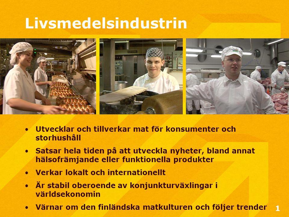 Livsmedelsindustrin •Utvecklar och tillverkar mat för konsumenter och storhushåll •Satsar hela tiden på att utveckla nyheter, bland annat hälsofrämjande eller funktionella produkter •Verkar lokalt och internationellt •Är stabil oberoende av konjunkturväxlingar i världsekonomin •Värnar om den finländska matkulturen och följer trender 1
