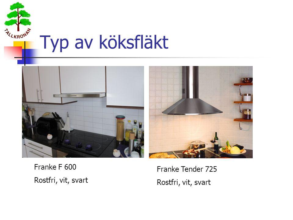 Typ av köksfläkt Franke F 600 Rostfri, vit, svart Franke Tender 725 Rostfri, vit, svart