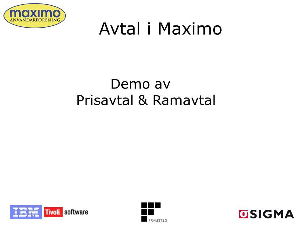 Avtal i Maximo Demo av Prisavtal & Ramavtal