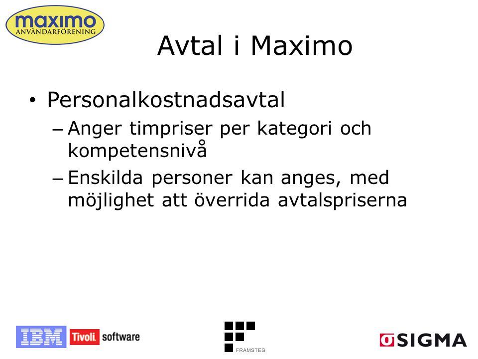Avtal i Maximo • Personalkostnadsavtal – Anger timpriser per kategori och kompetensnivå – Enskilda personer kan anges, med möjlighet att överrida avta