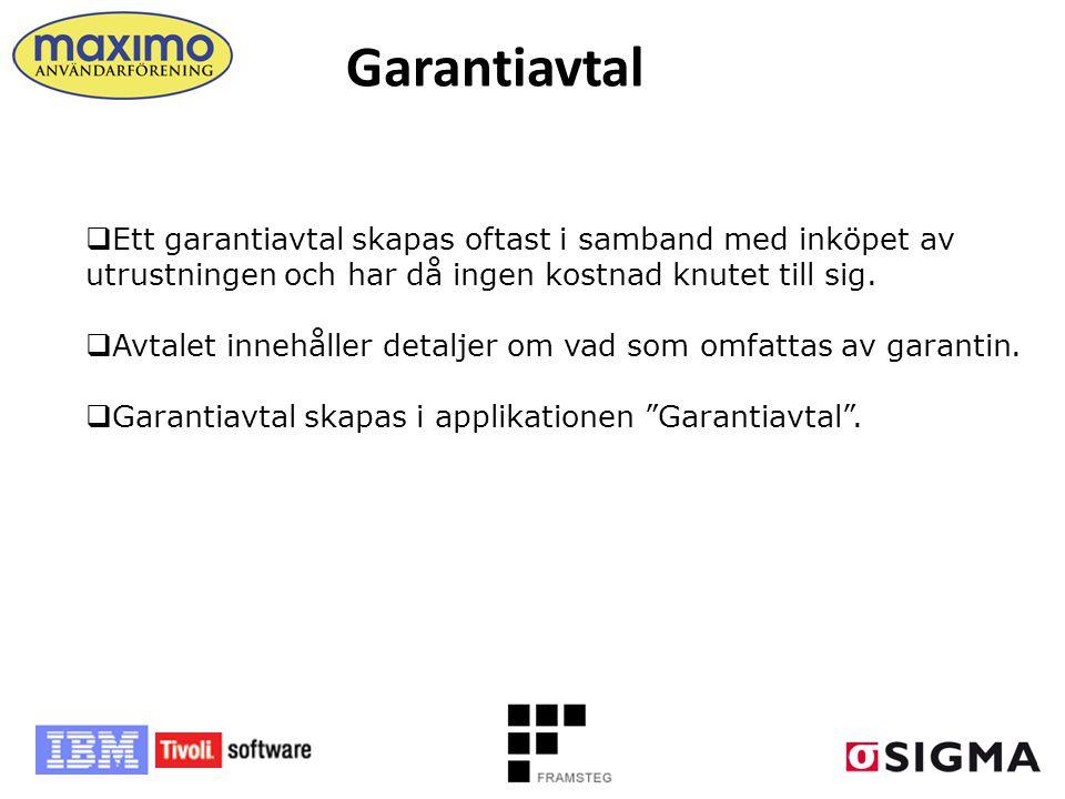 Garantiavtal  Ett garantiavtal skapas oftast i samband med inköpet av utrustningen och har då ingen kostnad knutet till sig.  Avtalet innehåller det