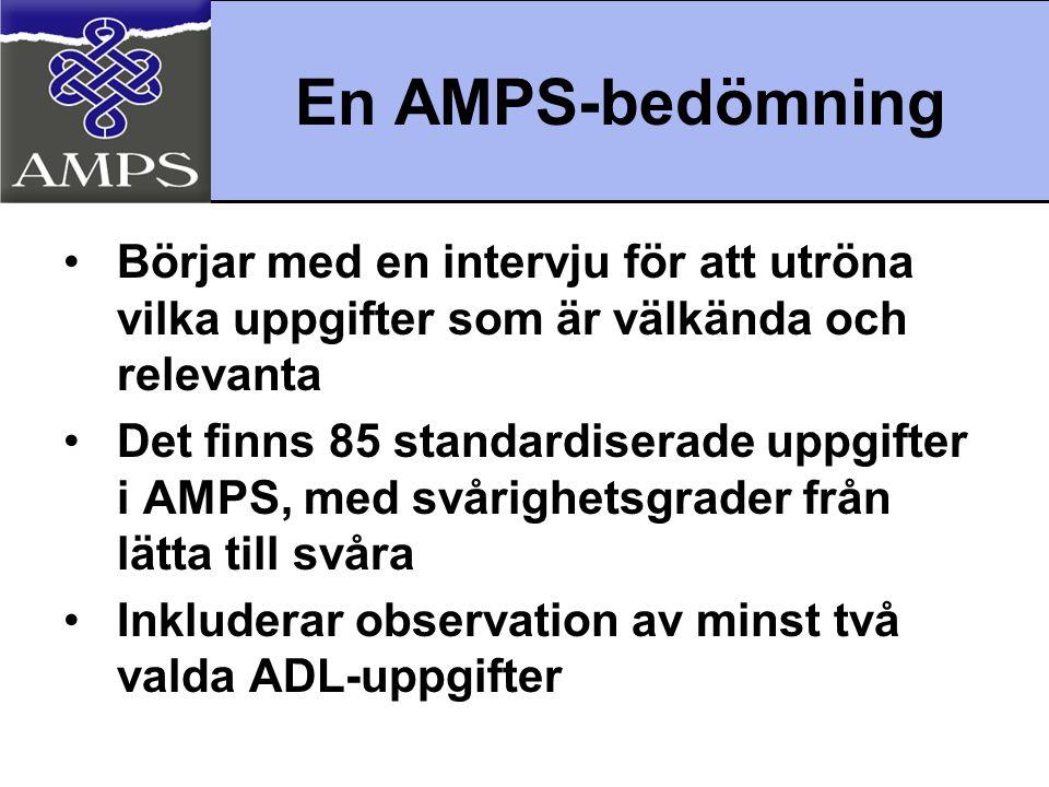 AMPS Grafiska rapport •Kvantitativa mått på klientens samlade motoriska och process- förmågor •Justerade av datorn utifrån uppgiftens utmaning, bedömarens stränghet och momentens svårighet