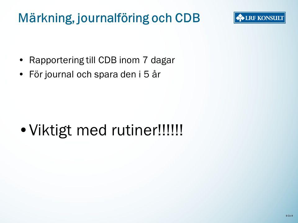 SIDA 9 Märkning, journalföring och CDB •Rapportering till CDB inom 7 dagar •För journal och spara den i 5 år •Viktigt med rutiner!!!!!!