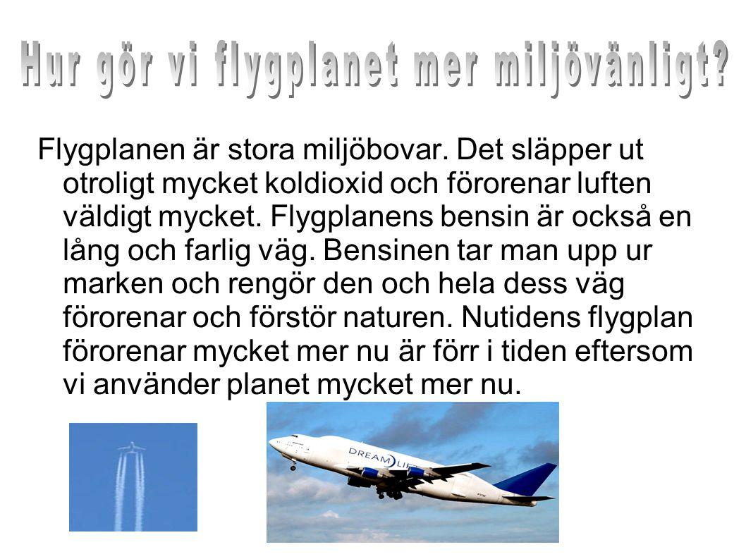 Flygplanen är stora miljöbovar. Det släpper ut otroligt mycket koldioxid och förorenar luften väldigt mycket. Flygplanens bensin är också en lång och
