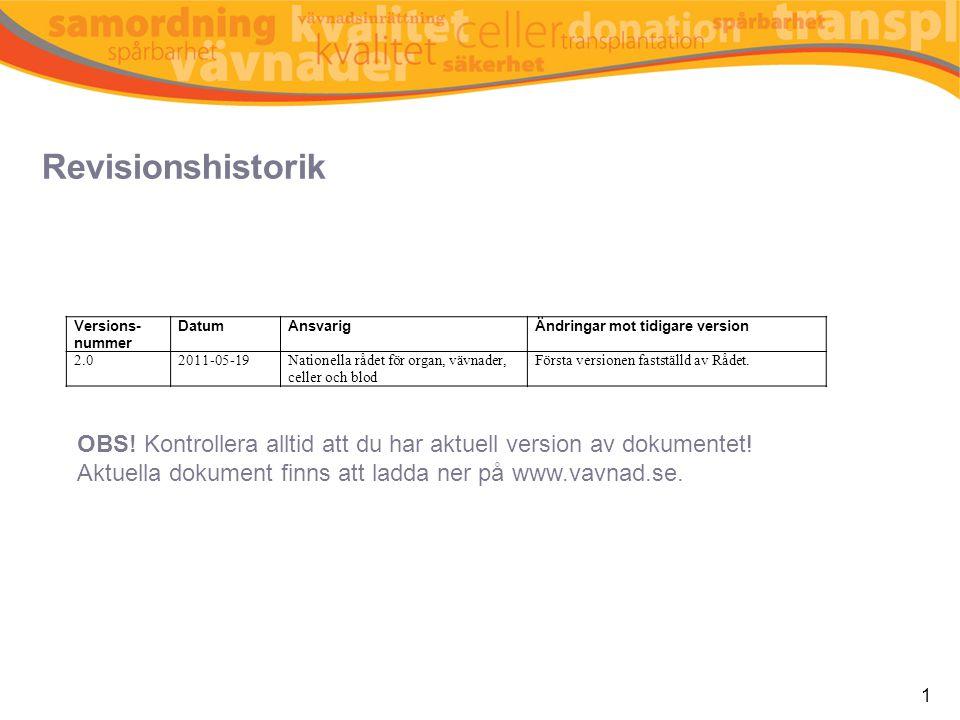 Revisionshistorik 1 Versions- nummer DatumAnsvarigÄndringar mot tidigare version 2.02011-05-19Nationella rådet för organ, vävnader, celler och blod Fö