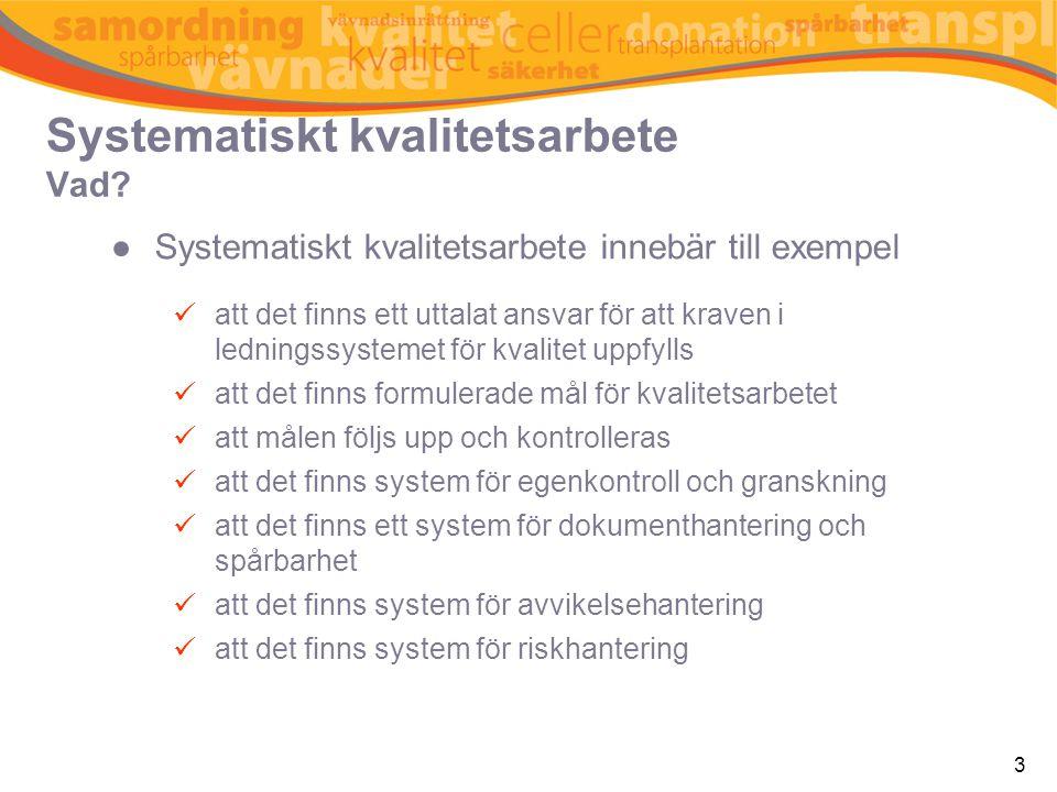 3 Systematiskt kvalitetsarbete Vad? ●Systematiskt kvalitetsarbete innebär till exempel  att det finns ett uttalat ansvar för att kraven i ledningssys