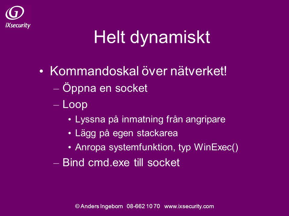 © Anders Ingeborn 08-662 10 70 www.ixsecurity.com Helt dynamiskt • Kommandoskal över nätverket.