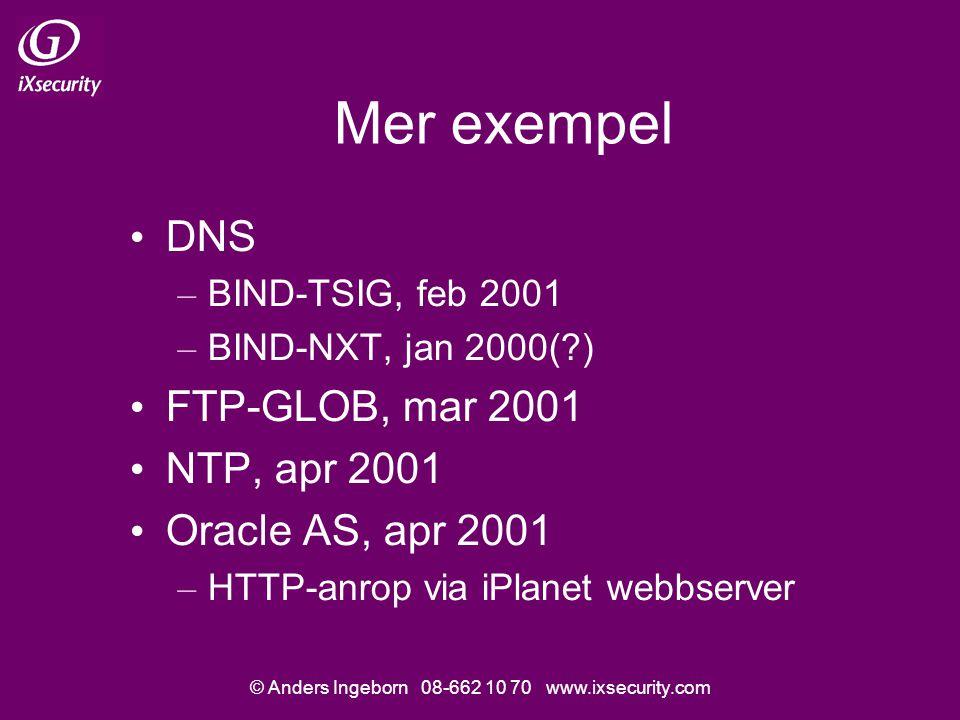 © Anders Ingeborn 08-662 10 70 www.ixsecurity.com Mer exempel • DNS – BIND-TSIG, feb 2001 – BIND-NXT, jan 2000( ) • FTP-GLOB, mar 2001 • NTP, apr 2001 • Oracle AS, apr 2001 – HTTP-anrop via iPlanet webbserver