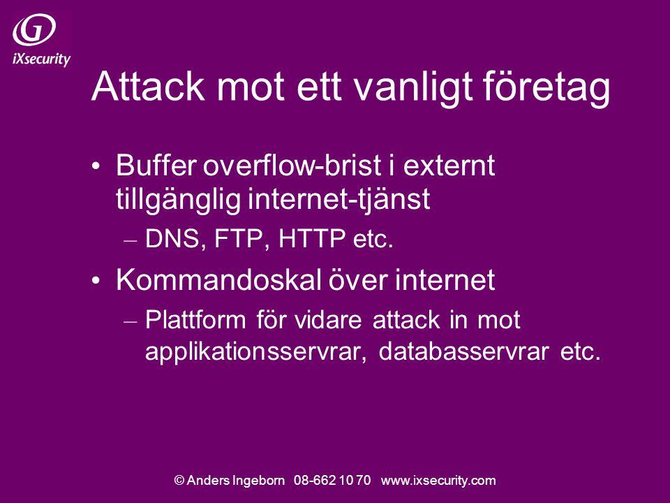 © Anders Ingeborn 08-662 10 70 www.ixsecurity.com Attack mot ett vanligt företag • Buffer overflow-brist i externt tillgänglig internet-tjänst – DNS, FTP, HTTP etc.