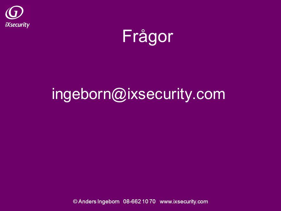 © Anders Ingeborn 08-662 10 70 www.ixsecurity.com Frågor ingeborn@ixsecurity.com