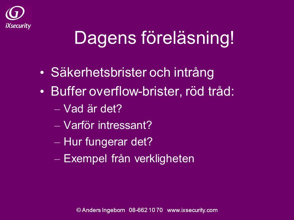 © Anders Ingeborn 08-662 10 70 www.ixsecurity.com Dagens föreläsning.