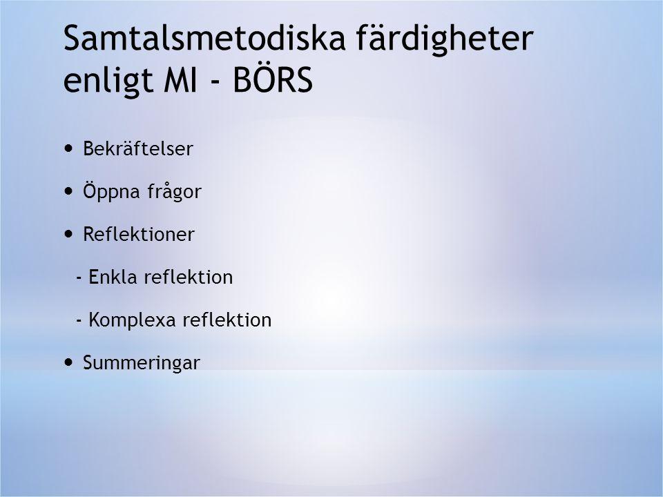 Samtalsmetodiska färdigheter enligt MI - BÖRS  Bekräftelser  Öppna frågor  Reflektioner - Enkla reflektion - Komplexa reflektion  Summeringar