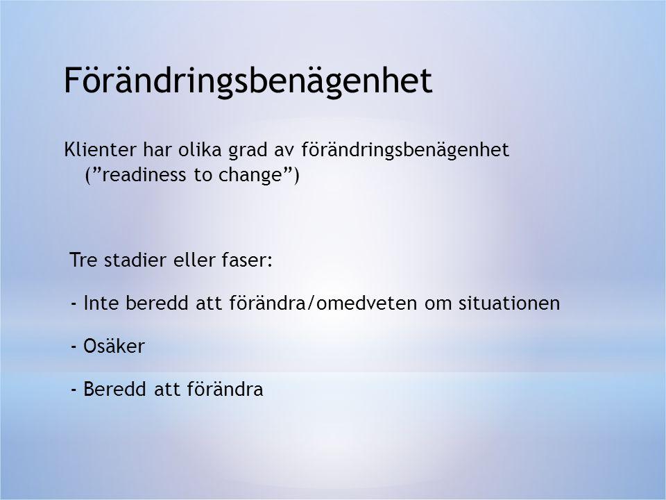 """Förändringsbenägenhet Klienter har olika grad av förändringsbenägenhet (""""readiness to change"""") Tre stadier eller faser: - Inte beredd att förändra/ome"""
