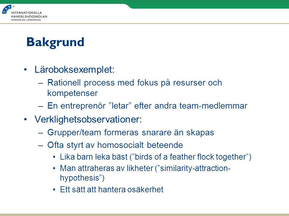 """Bakgrund •Läroboksexemplet: –Rationell process med fokus på resurser och kompetenser –En entreprenör """"letar"""" efter andra team-medlemmar •Verklighetsob"""